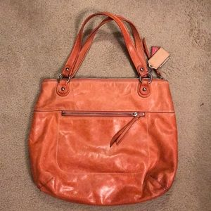 Coach tote - orange waxed leather